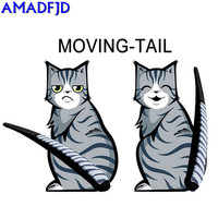Hot Sales Cartoon Funny Cat Moving Tail Stickers Reflective Car Window Wiper Decals Car Styling Auto