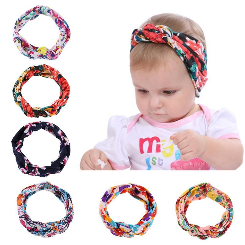 6 Colors Cute Baby Girls Headbands Infant Baby Colorful Weave Twist Toddler Bow Flower Hair Band Kids Elastic Headwear 0-8Y