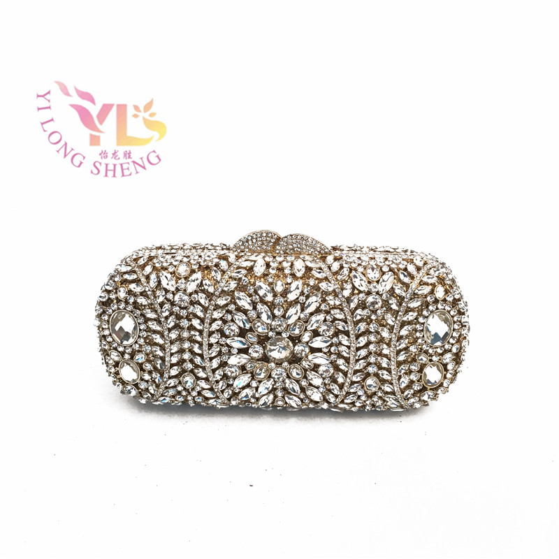 Glass Evening Party Bag 2017 Women Metal Silver Gold Rhinestone Clutch Wedding Purse IN FREE SHIPMENT YLS-F64 luxury crystal clutch handbag women evening bag wedding party purses banquet