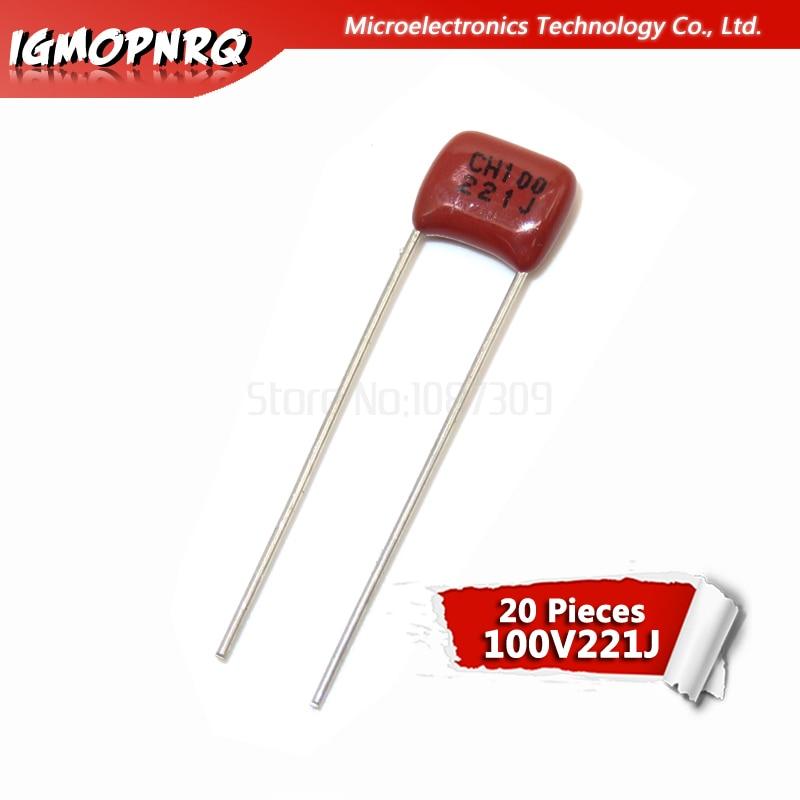 20PCS 100V221J 220PF 5% Pitch 5mm 220P 221 100V Igmopnrq CBB Polypropylene Film Capacitor New