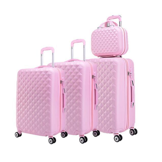 Travel tale spinner Дорожный чемодан из АБС набор жесткие стороны багажная сумка на колесиках комплекты одежды 3 предмета в комплекте - Цвет: pink a set