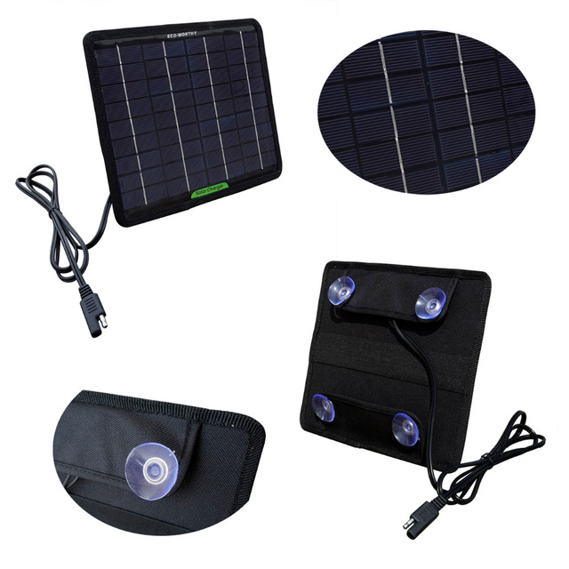 18V 5W Portable Solar Panel Multi-Purpose Solor Battery Charger for Cars Boat Motorcycle Solar Battery Panel Solar Generators