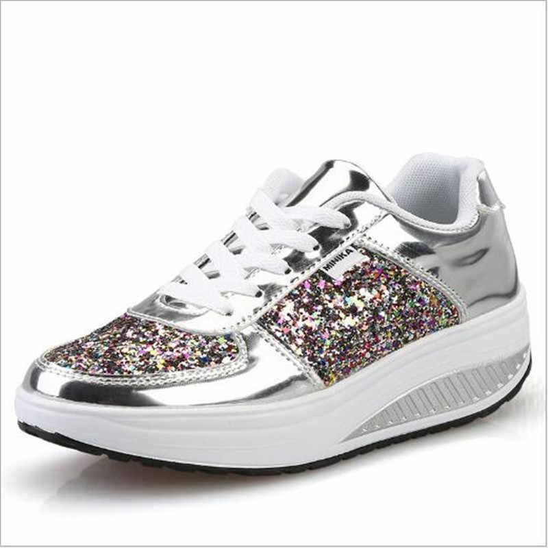 2018 новая платформа кроссовки Для женщин Мода Золотой блесток  Водонепроницаемый Для женщин обувь на плоской подошве 79a7e358a63