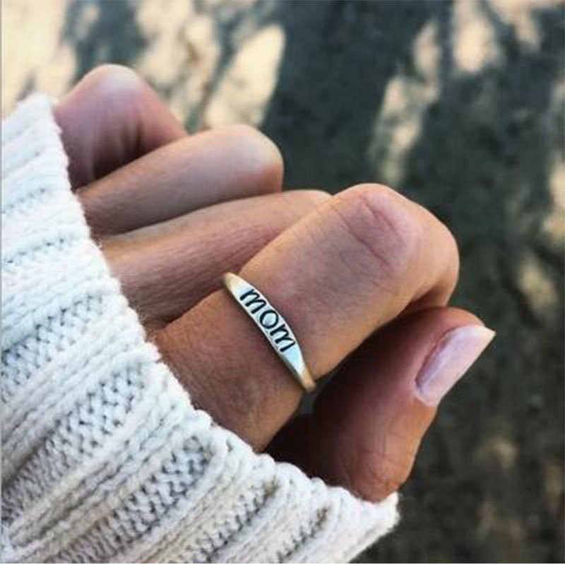 Classic Silver Color Ring Jewelry Letter Print Mom Ring for Women Clear Fashion Jewelry Gift Ring