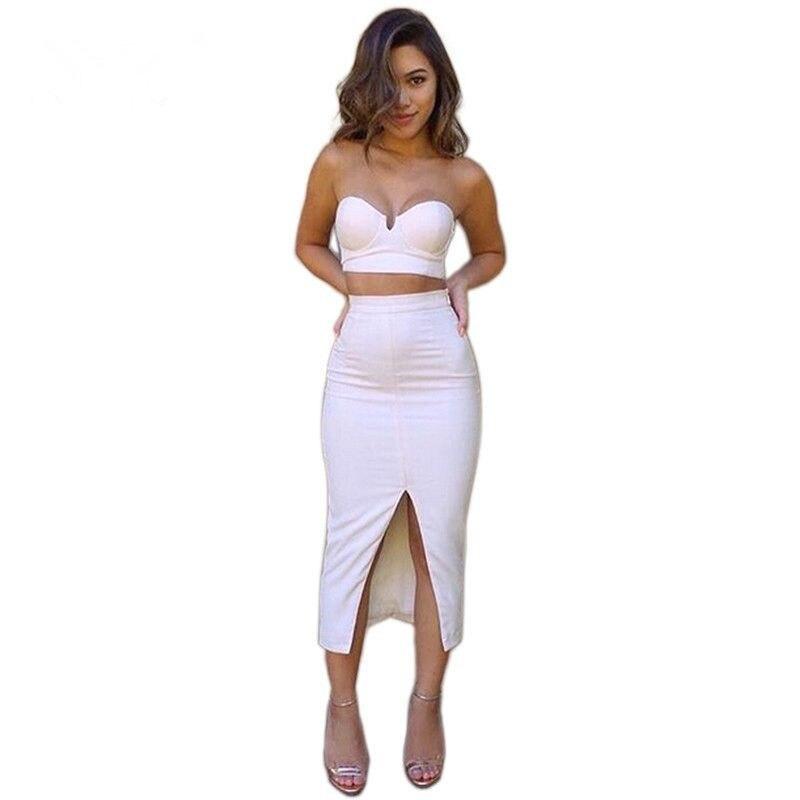 Ladies 2 piece summer dresses strapless