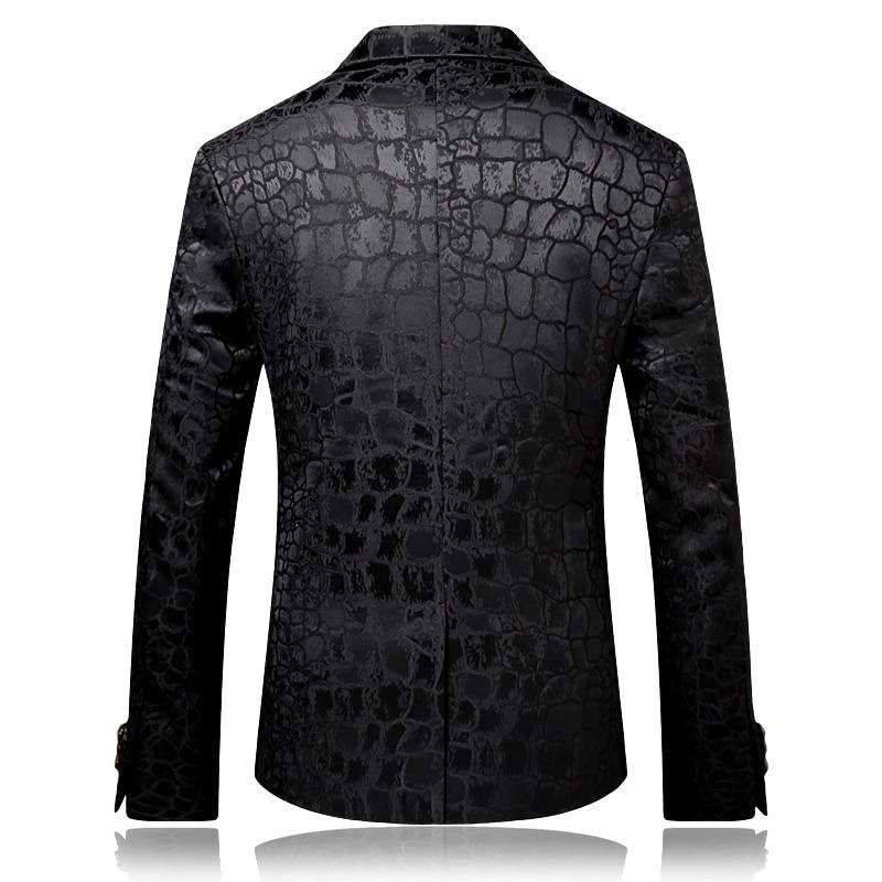 2017 Autumn Slim Fit Black Blazer Mens Casual Blazer Jackets Sylish Stage Clothing Party Prom Wedding dress - 2