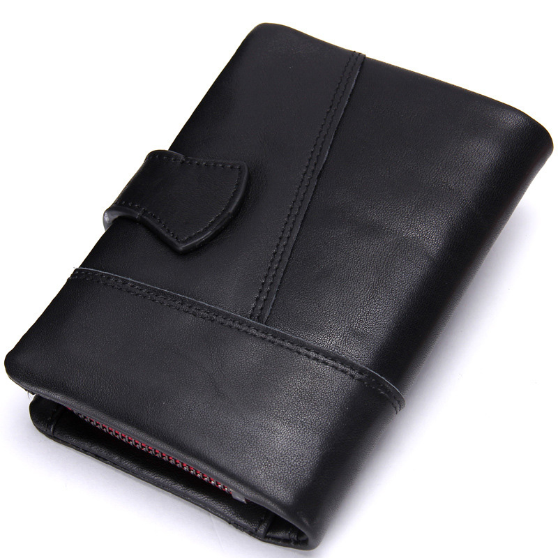 New Famous Brand Leather Men's Passport Cover Card Holder Short Black Wallet Coin Purse Rfid Money Bag famous brand new passport card holder