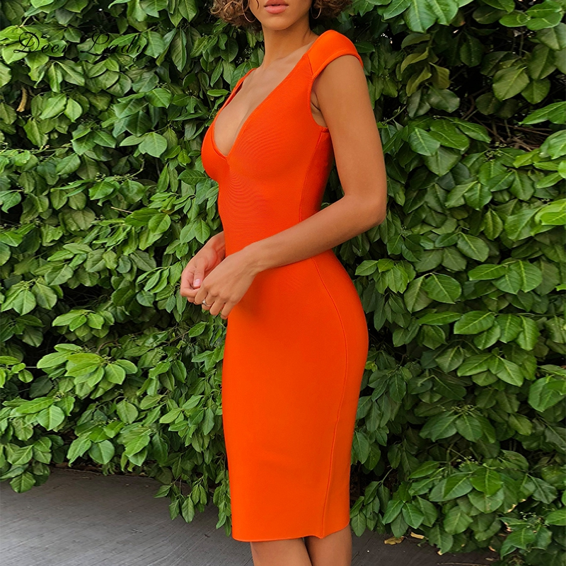 Qualità Di 90 Nuovi Size Partito Donne V Plus Vestito Vestiti Da Del Fasciatura Arrivi Arancione Delle Rayon Alta A 2018 Sexy Scollo Estate Hytrade wTYfaSxqn
