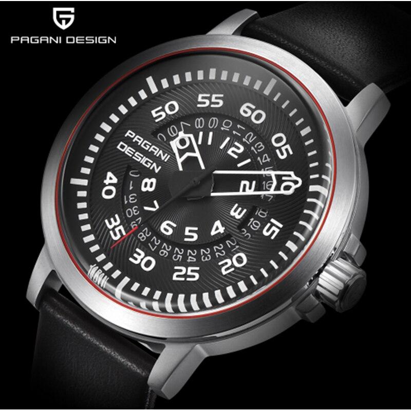 PAGANI design de luxo top projeto original oco de couro à prova d' água relógio de quartzo dos homens do relógio dos homens calendário Relógio Multifuncional
