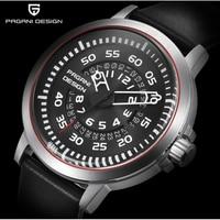 PAGANI design luxury top leather waterproof quartz watch men's unique design hollow watch men's calendar Multifunction Watch