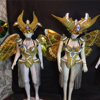 MD07 Bar ballroom dance led costumes dress bellydance butterfiy wings colorful led wear clothes stage dj sexy led bra no light