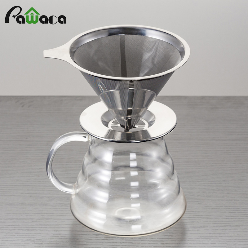 cone filter paperless pour over coffee maker stainless steel coffee dripper reusable drip cone. Black Bedroom Furniture Sets. Home Design Ideas