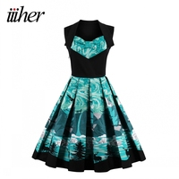 Iiiher Print Floral Vintage Sleeveless Dresses New Style Spring Summer Retro Dress Vestidos Robe Womens Christmas