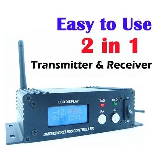 Wireless DMX 512 Controller Trasmettitore e Ricevitore 2in1 LCD di Alimentazione del Display Regolabile Ripetitore Regolatore di Illuminazione A LED DMX512