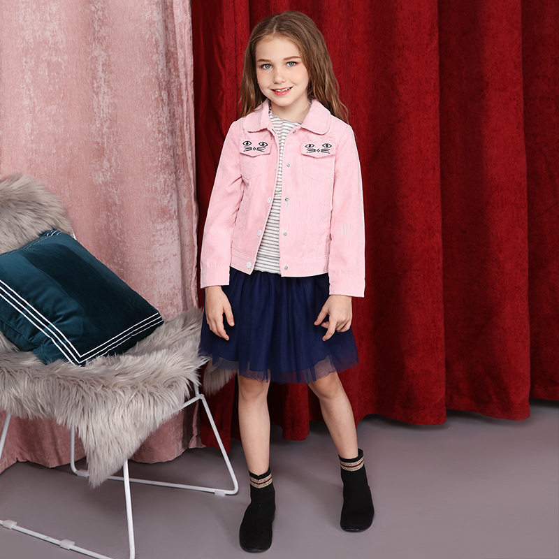 цена Girls' fine stripe corduroy jacket 2018 fall new style children's casual coat jacket
