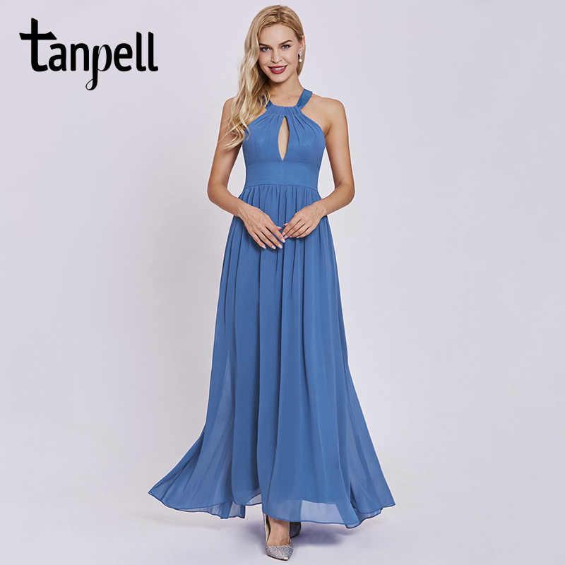 fd49f467b20d8 Tanpell halter prom dress elegant dark navy sleeveless ankle length a line  dresses women formal evening long draped prom gown