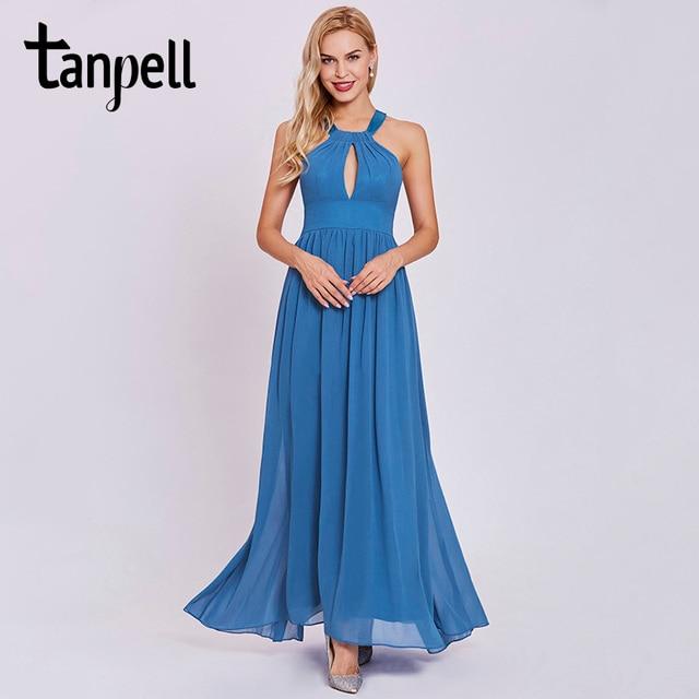Tanpell Холтер платье для выпускного вечера элегантный темно-синий без рукавов голеностопного Длина линии платья женские вечерние длинные драпированные платье на выпускной