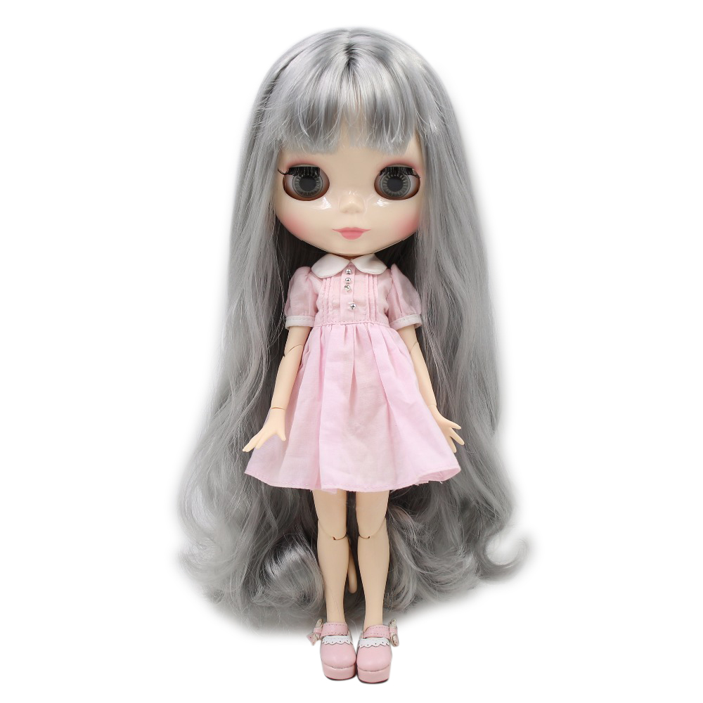 factory blyth doll grey hair with bangs white skin joint body 1/6 30cm BL9084 factory blyth doll 150bl136 white hair white skin joint body translucent face 1 6 30cm