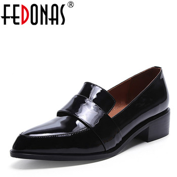FEDONAS High Quality Natural Cow Leather Simple Fashion Spring Autumn Women Genuine Leather Shoes Woman Punk Black Shoes Pumps
