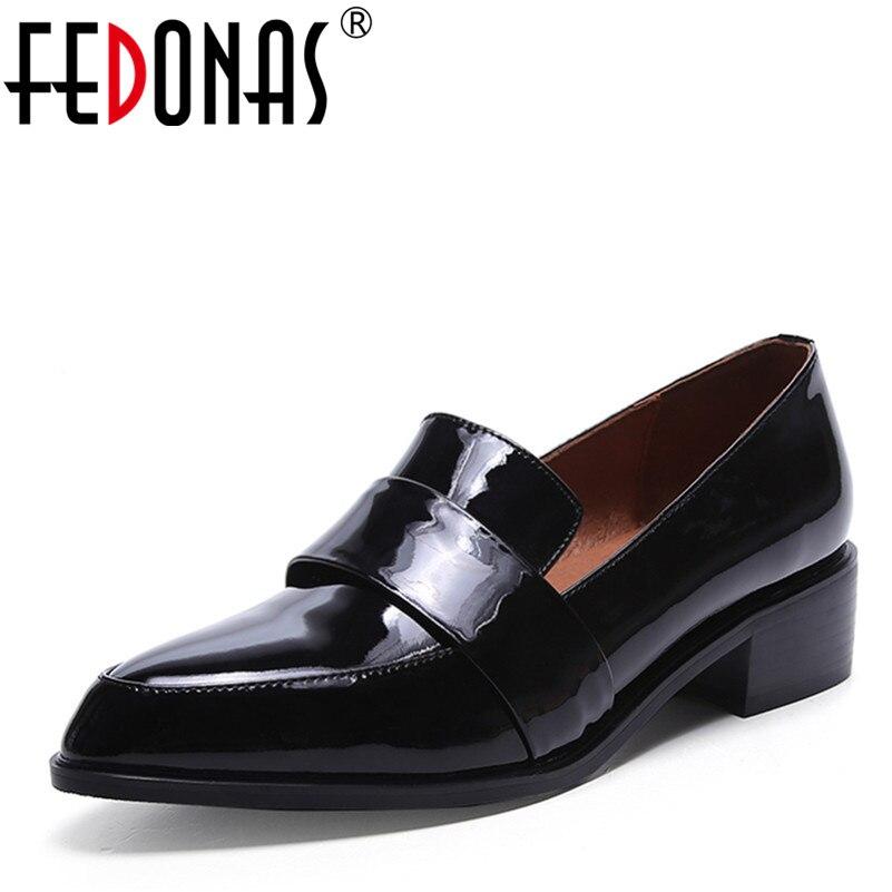 Fedonas 고품질 천연 암소 가죽 간단한 패션 봄 가을 여성 정품 가죽 신발 여성 펑크 검은 신발 펌프-에서여성용 펌프부터 신발 의  그룹 1