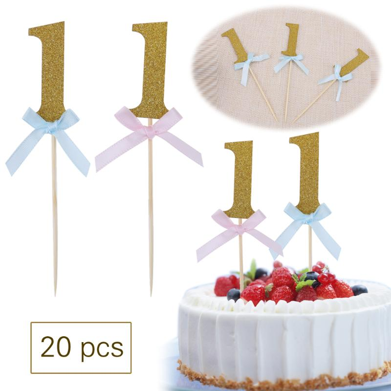 Online Shop 20pcs Happy First Birthday Cupcake Toppers 1st Number