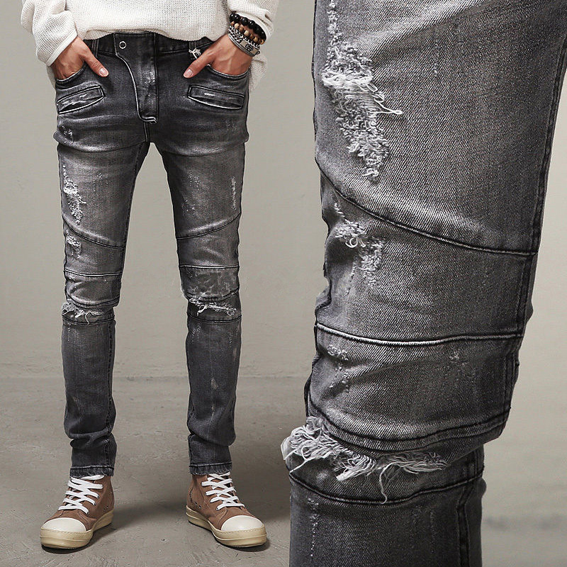 ФОТО 2016 LetsKeep Spring Punk Biker Jeans Men Denim Iron grey knees ripped jeans button fly scratched Slim fit jean boot cut,ZA183