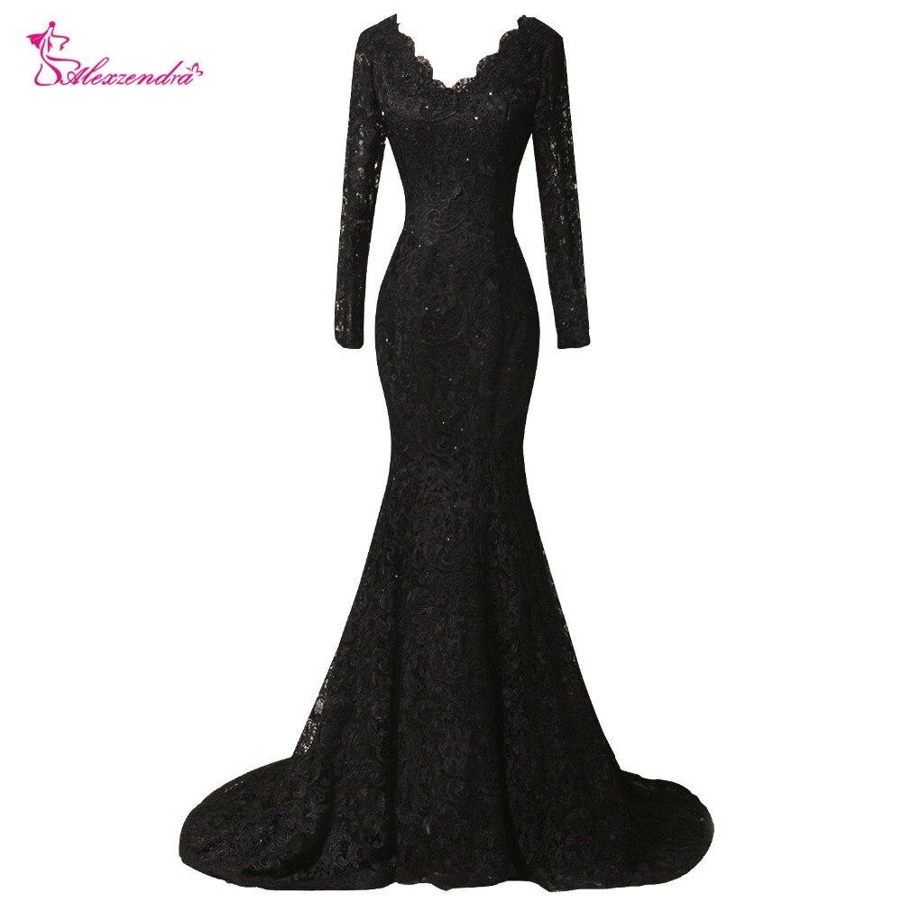 Alexzendra Double col en V dentelle sirène longue robe de soirée à manches longues grande taille Vintage robe de bal robes de soirée