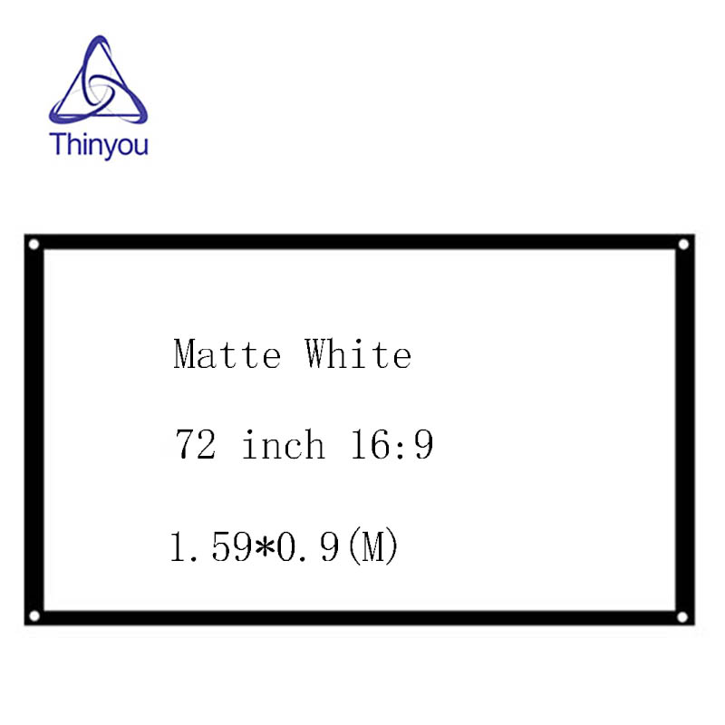 Thinyou 16:9 72inch Matt White Projector Scattered Screen Movie Foldable Portable Front Projection without Frame