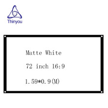 Thinyou 16:9 72inch Matt White Projector Scattered Screen Movie Screen Foldable Portable Front Projection Screen without Frame