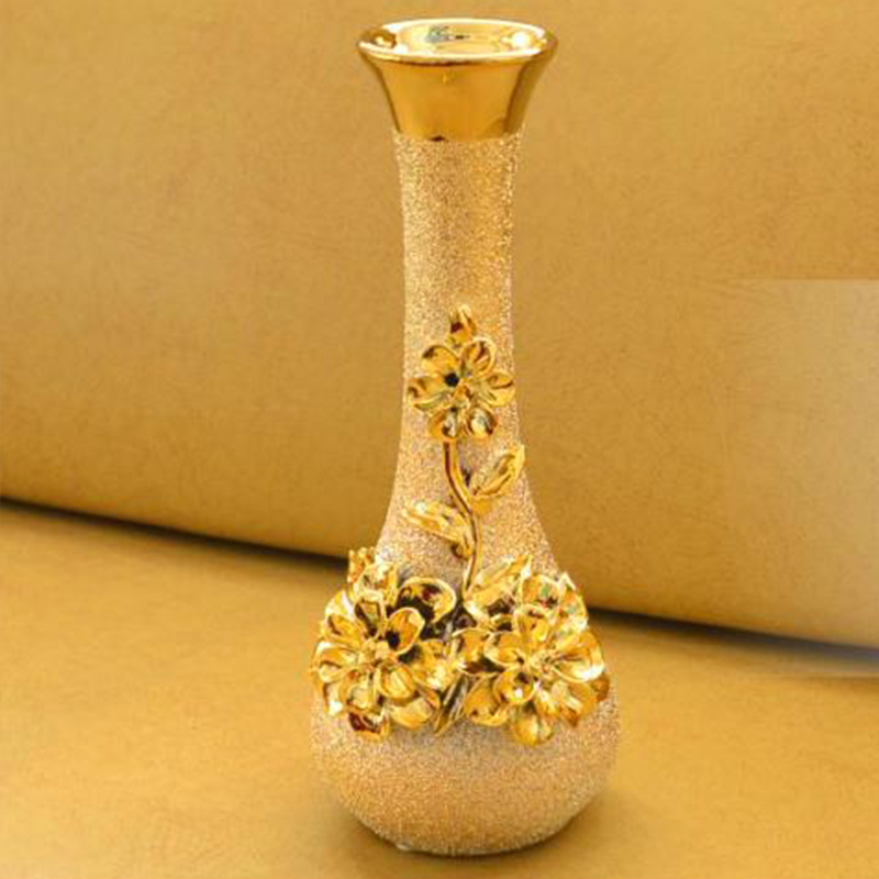 Fashion ceramic gold vase home living room decoration for Decoration pieces for home