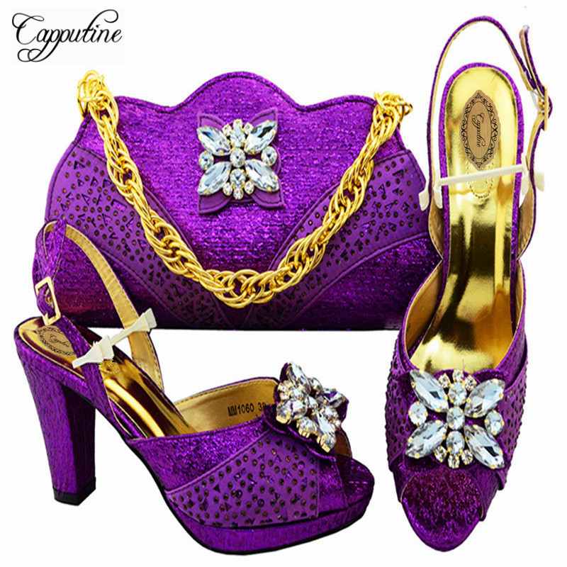 Capputine New Arrival Nigerian Rhinestone High Heels Shoes And Bag Set Italian Style Waman Shoes And Bag Set Size 38-43 M10603 capputine new arrival rhinestone slipper shoes and matching bag set africa style high heels shoes and bag set evening party