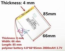 최고의 배터리 브랜드 무료 배송 새로운 기사 3.7 v 리튬 폴리머 배터리 2800 mah 406685 ma 태블릿 배터리