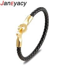 Мужской кожаный браслет janeyacy черный плетеный с застежкой