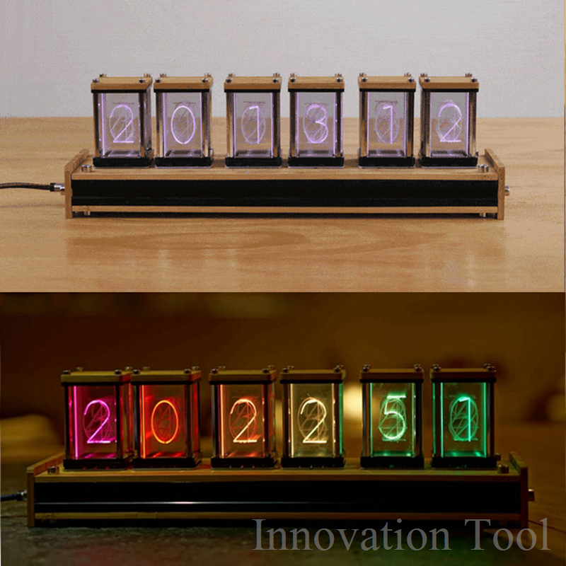где купить Elekstube Programmable 6 Digit RGB Glow Digital Clock Nixie Tube Clock Kit DIY Electronic Retro Desk Clock 5V Micro USB Powered дешево