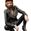 BringBring 2016 Outono Inverno Moda Grosso Mulheres Jaqueta de Couro Com estilo Punk Rebite Curto Fino PU Jaqueta Casaco Locomotiva 1746