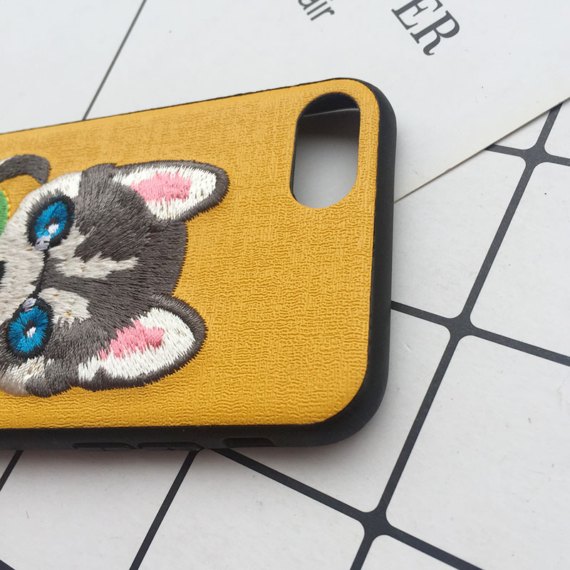 Tfshining Cute 3D Embroidery Cover Case For iPhone XS Max XR X 6 6s 7 8 Plus Soft Full Dog Teddy Pug Husky Dog Mobile Phone Case (11)