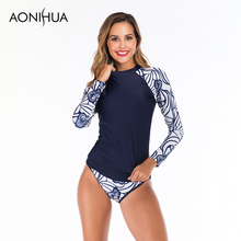 Aonihua Plus Size Swimwear Two Piece Swimsuit Summer Sexy Flower Printed Long Sleeve Batching Suit Swimsuits Women