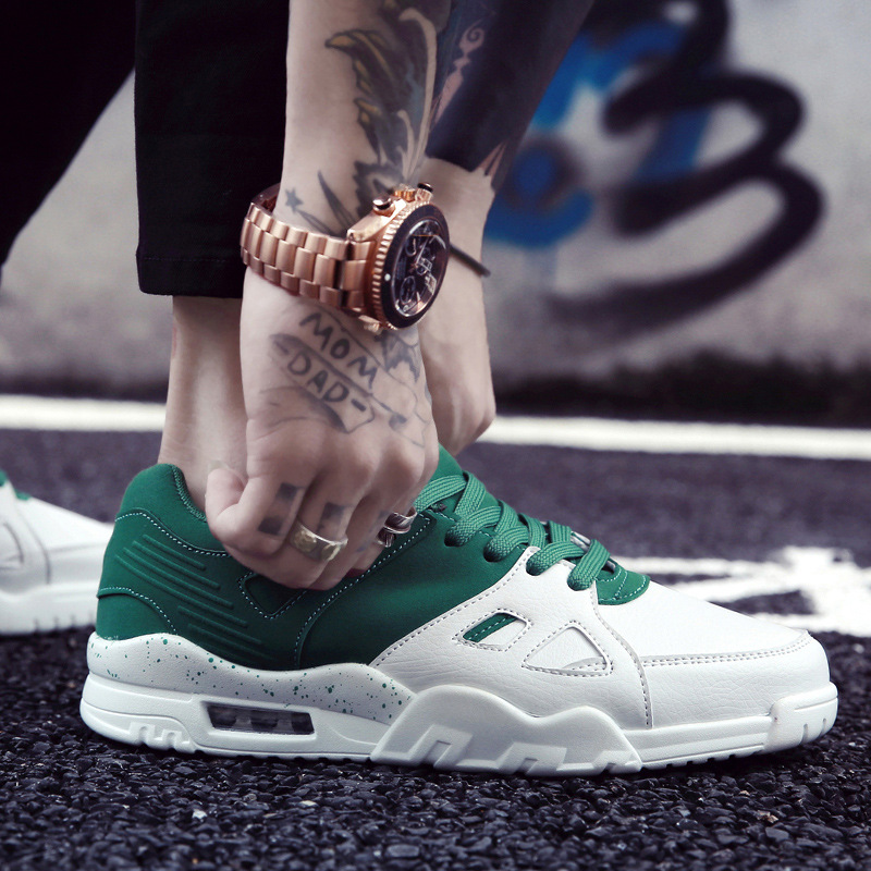 ФОТО Men's white shoes white green casual shoes fashion lace-up breathable shoes flats trainners Zapatos Hombre size 39-44 LA249M