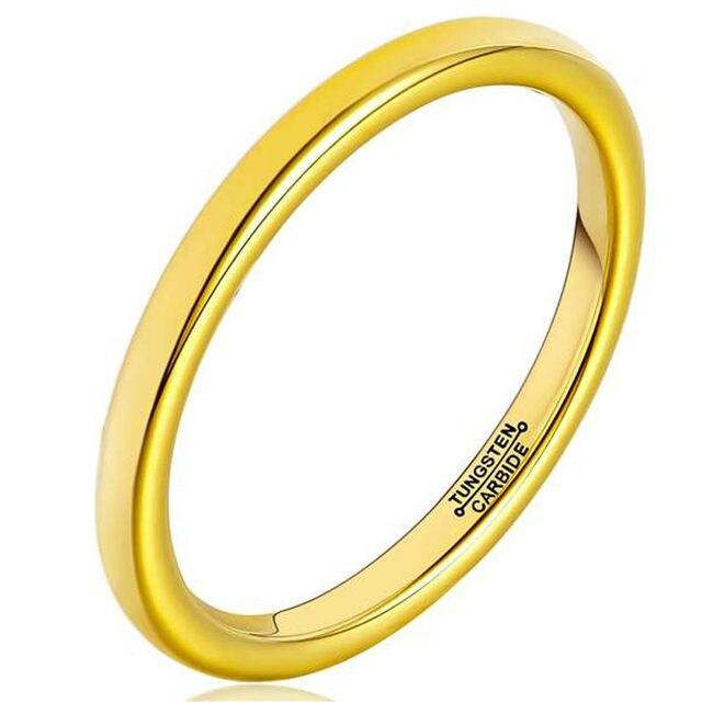 6ac078693fa3 Tungsten anillos de moda 2mm ancho de la mujer chapado en oro de la bóveda  banda