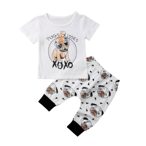 2PCS Toddler Infant Baby Boys Girls Casual Dog Clothes Short Sleeve T-shirt Tops+Pants Baby Clothes Set Outfits