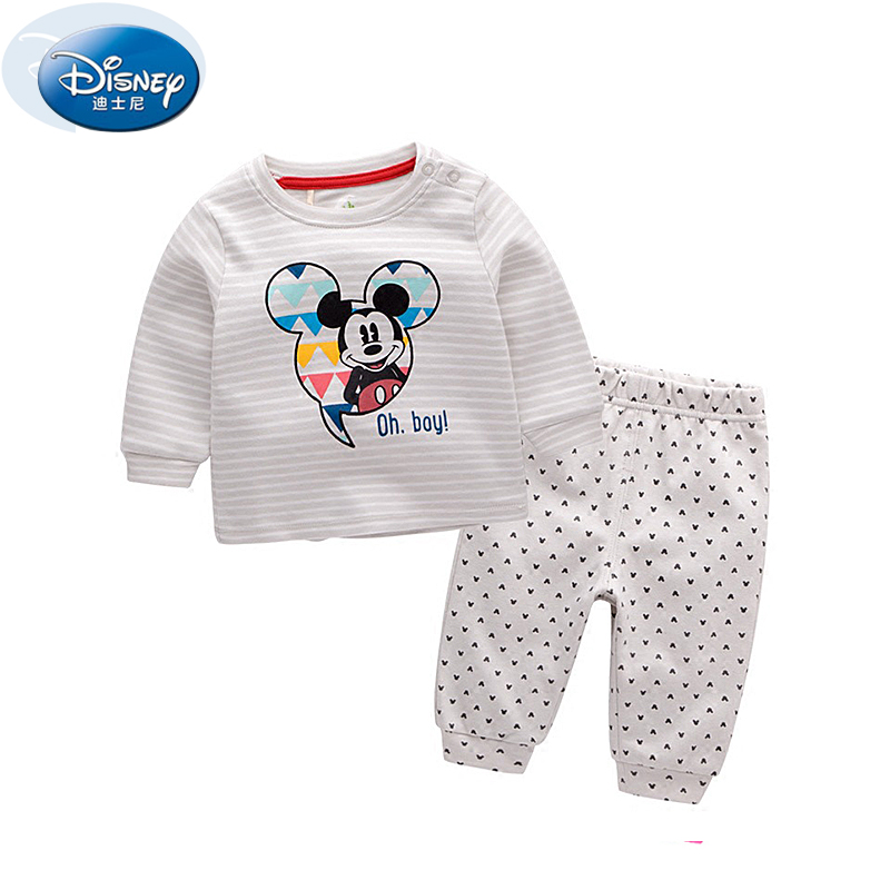 Disney 2017 New Casual Two Piece Baby Clothes Sets Mickey Minnie Mouse Cartoon Cute Boy outwear Suits Pure Cotton High Quality