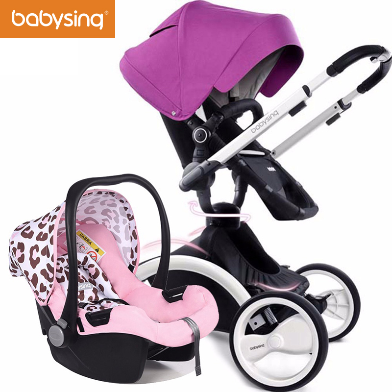 Babysing 3 in 1 Baby Car Stroller Luxury High View Strollers For Newborn 360 Rotary Pram with Carrycot Bassinet Baby Pushchair luxury baby stroller with carrycot pram set 2 in 1 baby stroller trolley baby car child folding cart bassinet light