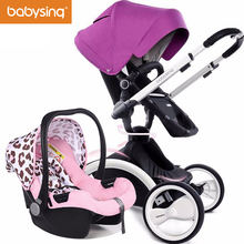 Babysing 3 in 1 Baby Stroller Luxury High View Strollers 360 Rotation Pram with Carrycot and