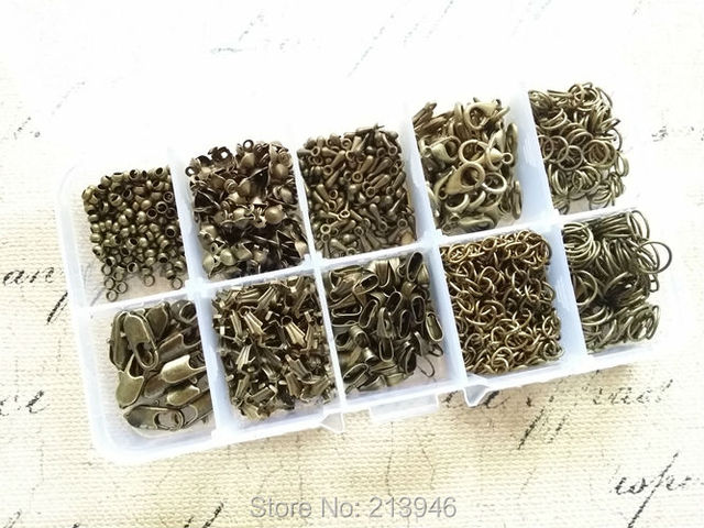 ( For DIY Necklace~~) 950Pcs/Set Mix 10 Styles Vintage Bronze Components Box Jewelry Accessories Set Findings