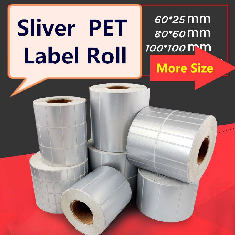 MATTE Sliver Pet Label 60mm ~100mm Width, Difference Size, Silver Matte Polyester For Electronic Appliance Device Stickers