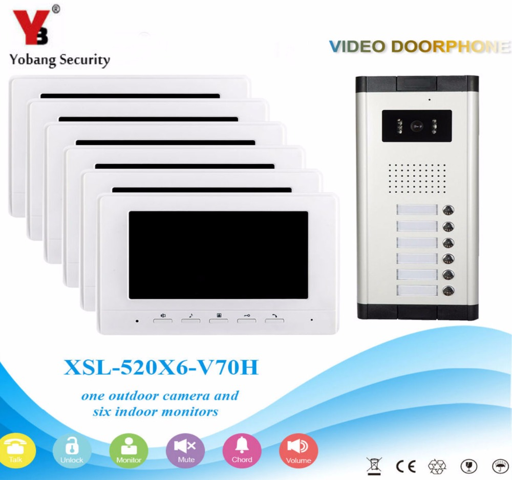 YobangSecurity Video Door Intercom 7 Inch Monitor Wired Video Doorbell Door Phone Intercom 1 Camera 6 Monitor System Kit автоакустика mtx tx250s