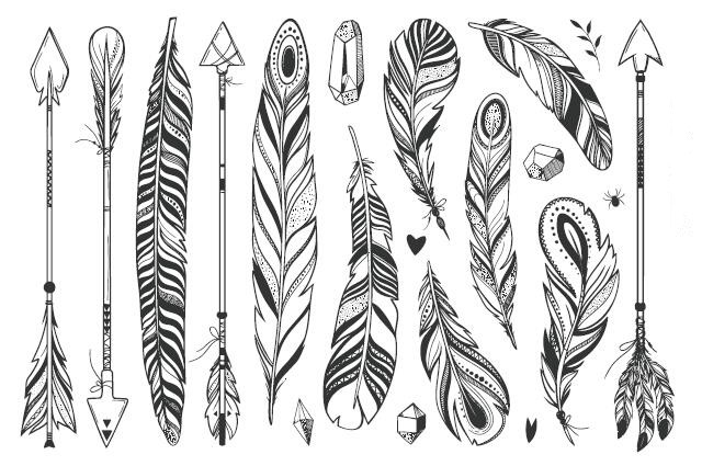 b0e2ac35deaae Waterproof Temporary Fake Tattoo Stickers Vintage Grey Feather Geometric  Arrow Tribe Cool Design Body Art Make Up Tools