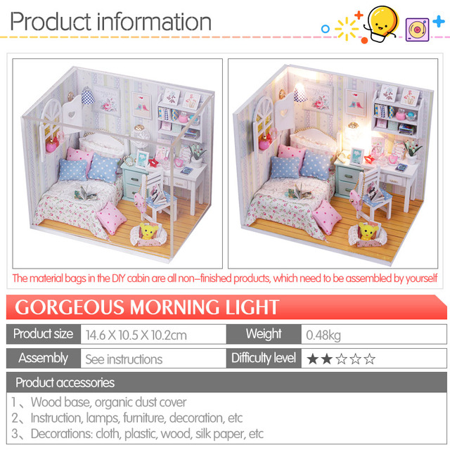 Toys for Girls DIY Wooden Pink Girl House Miniaturas with Furniture DIY Miniature House Dollhouse Birthday Gifts M013 M026