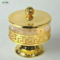 Free Shipping Unique European Style Gold Finish Metal Acrylic Salt Sugar Tea Coffee Jars High Quality