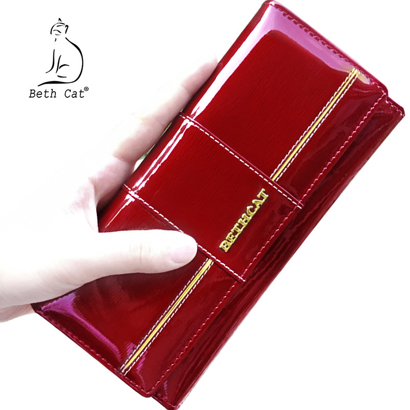 BETH CAT 2018 New Fashion Genuine Leather Women Wallet Female Hasp Purse Long Coin Purses Ladies Wallets Cowhide Red цена и фото